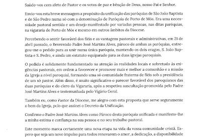 Mensagem de Unificação das paróquias São Pedro e São João