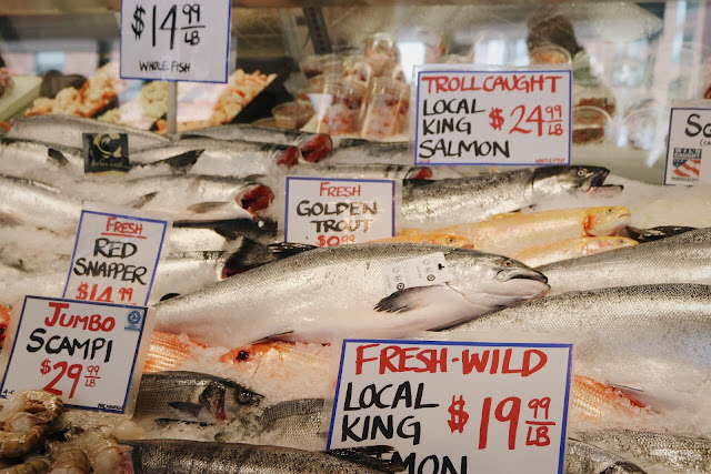 Fresh seafood from Pike Place Market in Seattle