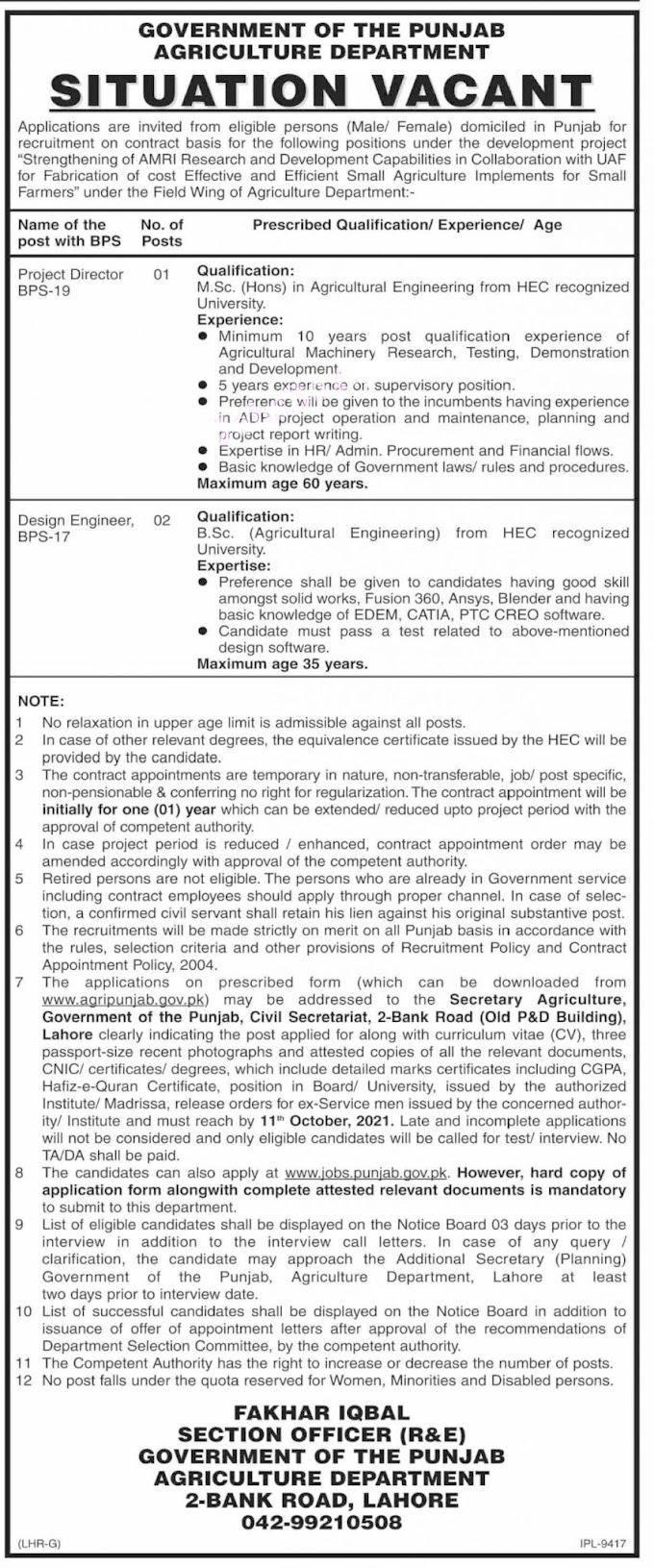 LATEST Department Agriculture Punjab Jobs 2021