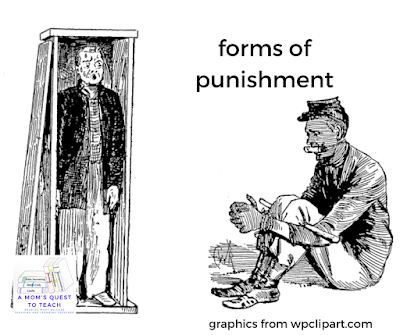 A Mom's Quest to Teach logo; Sweat box clip art and gagging clipart from wpclipart.com; forms of punishment