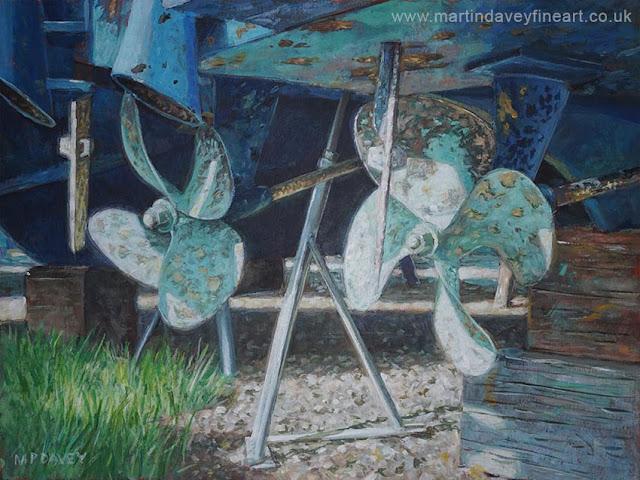 marine boat in dry dock propeller painting Davey