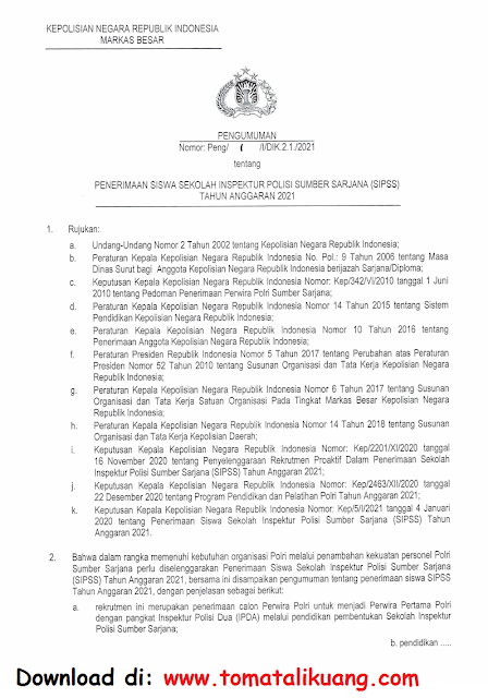 penerimaan siswa sekolah inspektur polisi sumber sarjana sipss tahun 2021 tomatalikuang.com.jpeg