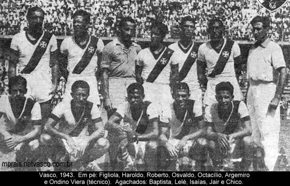 Foto posada do time do Vasco em Laranjeiras (foto publicada no portal  Netvasco). Torneio Início de 1943 - o Vasco chegou à semifinal badb387717a75