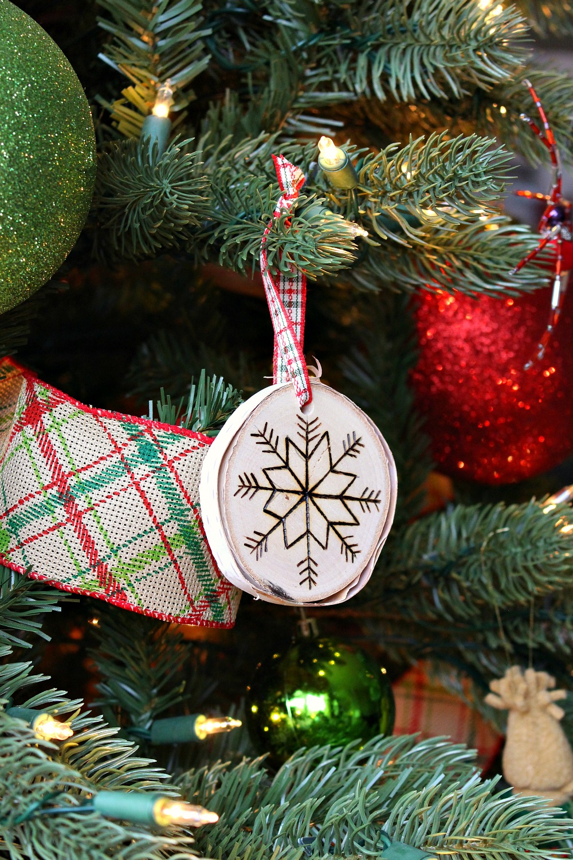 DIY birch snowflake ornament