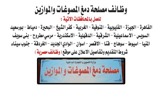 وظائف حكومية مصلحة دمغ المصوغات والموزاين وزارة التموين بجميع المحافظات
