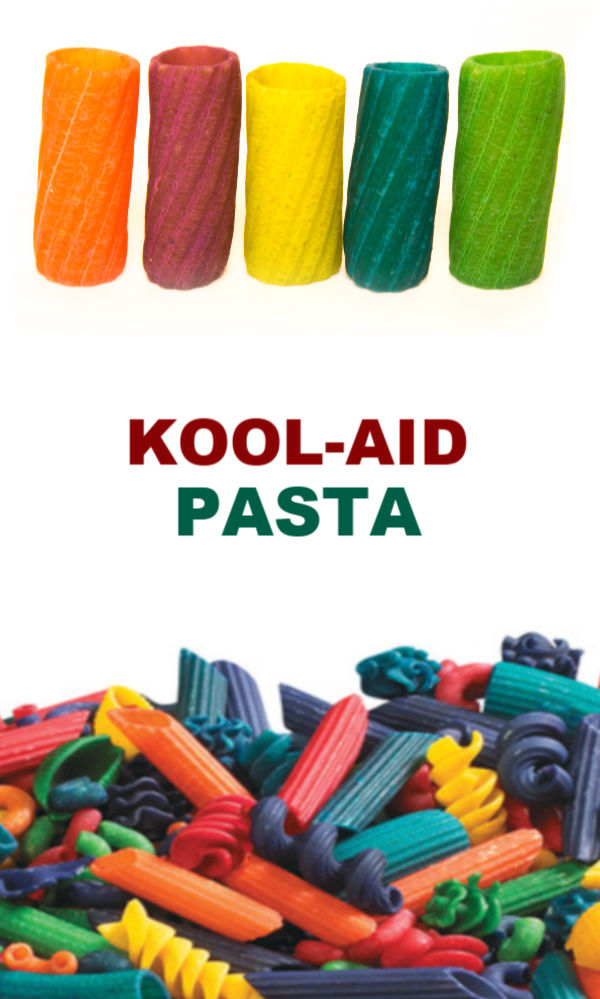 Make rainbow pasta noodles for arts, crafts, and sensory play using Kool-aid!  Recipe for kids spaghetti activities. #koolaiddye #koolaiddyedpasta #koolaidart #koolaidactivities #koolaidcrafts #koolaidcraftsforkids #craftswithkoolaid #rainbownoodles #pastanecklacecraftkids #dyedpasta #sensoryactivities #sensorybins #growingajeweledrose #activitiesforkids