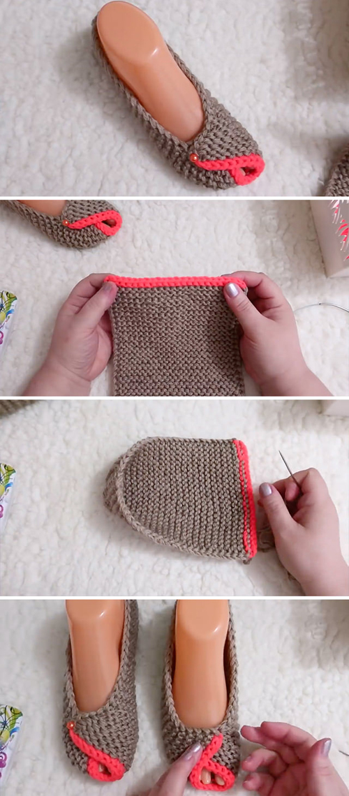 Knitted House Slippers - Easy Tutorial