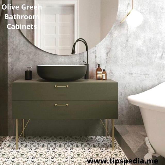 olive green bathroom cabinets