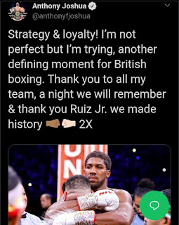 Anthony Joshua Hug Andy Ruiz After Rematch In Saudi Arabia(Photo)