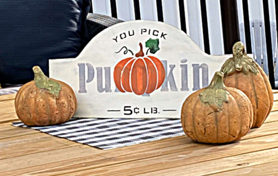 pumpkin sign on table with concrete pumpkins around