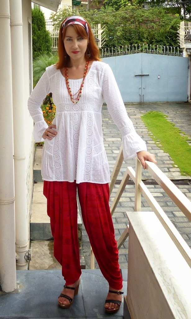 Western blouse worn over ethnic patiala pants
