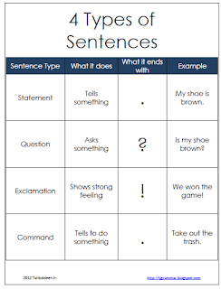 4 Types of Sentences Poster