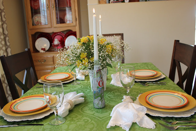 "A Spring Tablescape ""Inspired By"" the new ""It's Mine"" Diet Coke bottles."