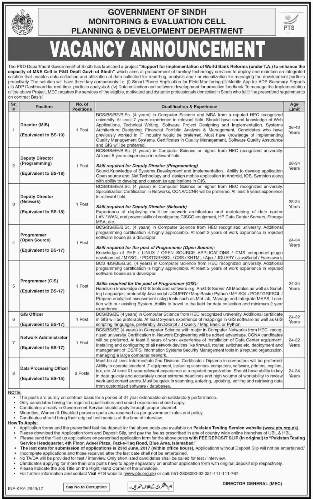 Jobs Planning And Development Department Govt Of Sindh 5 June 2017