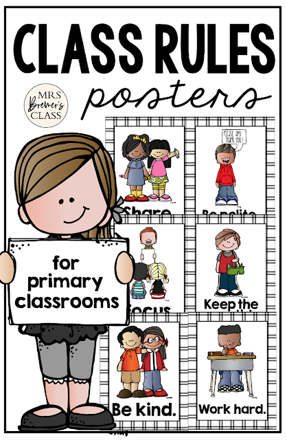 Classroom Rules Posters featuring Melonheadz Kidlettes! Makes a sweet bulletin board display and a great visual reference for students who need support with self regulation and classroom behavior expectations. #classroomsetup #classroom #classroomdecor #kindergarten #1stgrade