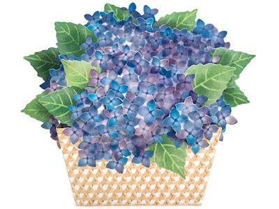 Basket Of Blooming Hydrangeas 3D Pop Up Card