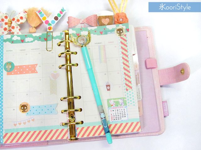 Tutorial, DIY, Handmade, Crafts, Kawaii, Cute, Paper, Koori Style, Koori Style, Koori, Style, Planner, Planning, Stationery, Deco, Decoration, Time Planner, Kikki K, Filofax, Washi, Deco, Tape, Monthly, Journal, Agenda, Stickers, Medium, Live Bright, Ring Planner, Plan With Me, Set Up, 和紙テープ, プランナー, 플래너