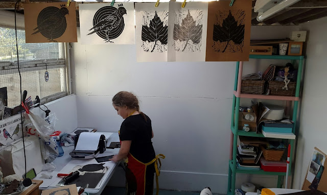 Whoopidooings Blog: Lino printing using the XCut XPress as printing press