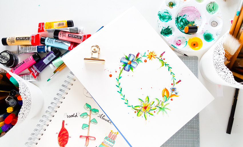 Watercolor Flower Wreath | Instagram: jannawerner | Janna Werner