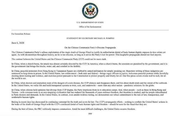 Toàn văn tuyên bố của ngoại trưởng Hoa Kỳ Micheal R. Pompeo về Trung Quốc