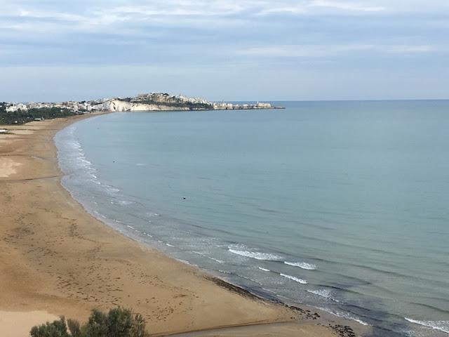 Sandy beaches outside of Vieste, Italy.