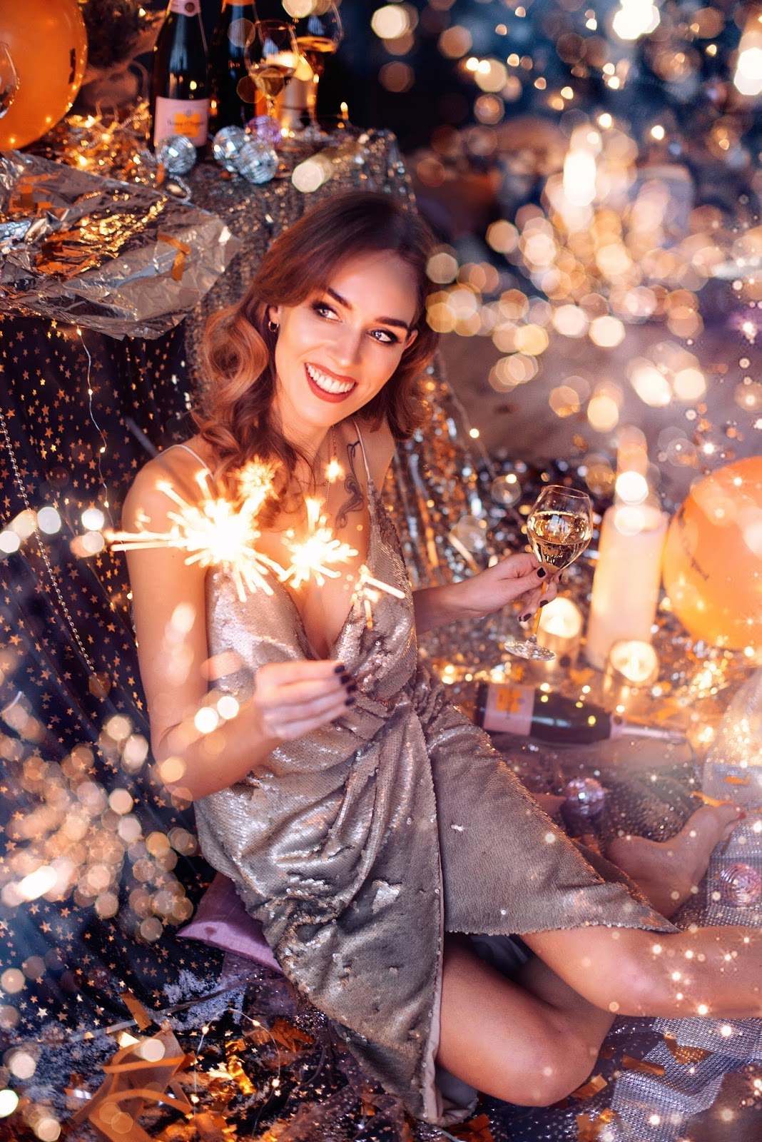 sparkling candles sequin glitter dress photography