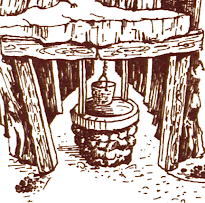 Artist's conception of the shaft from the 1980 text adventure, Zork I.  A basket hangs from a rope at the top, and can be dropped down vertically.