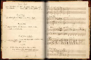 Entrada en el diario de Mozart del Andante en Fa mayor, K.616 (4 de mayo de 1791).