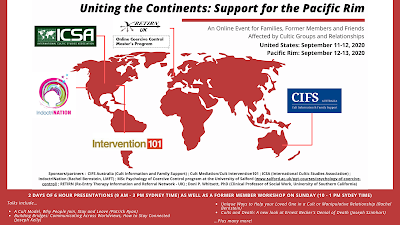 """Uniting The Continents: Support For The Pacific Rim'' -- An Online Event for Families, Former Members and Friends Affected by Cultic Groups and Relationships."