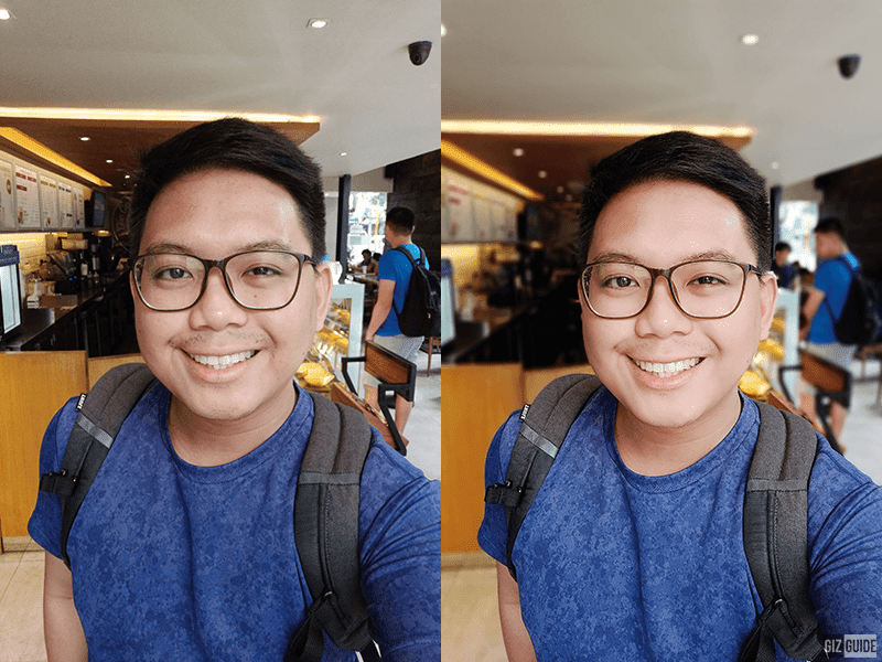 Normal vs with face beauty and depth effect