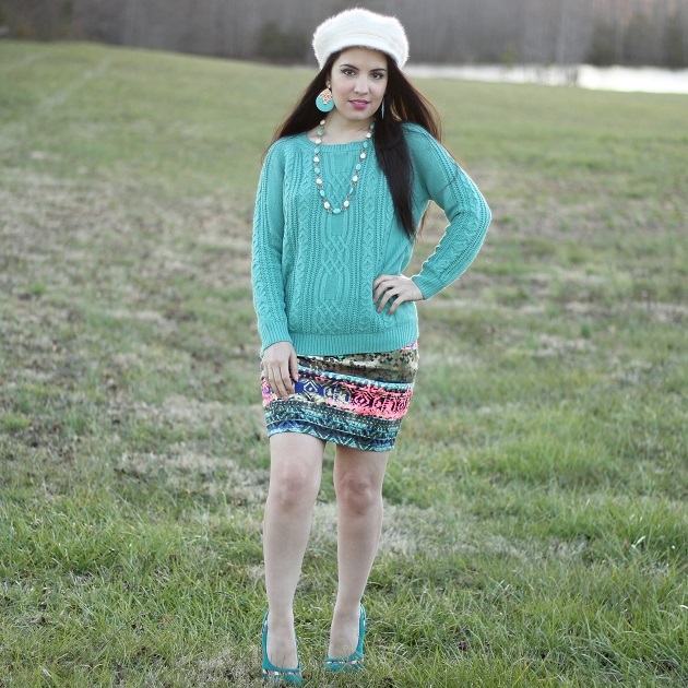 Blue Cableknit Sweater