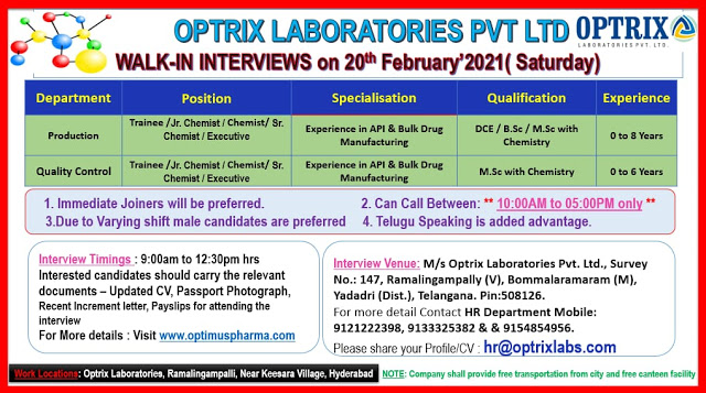 Optrix Labs | Walk-in for Freshers and Expd on 20th Feb 2021