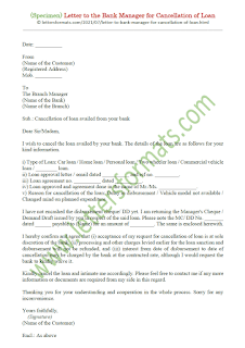 letter format to bank manager for cancellation of loan