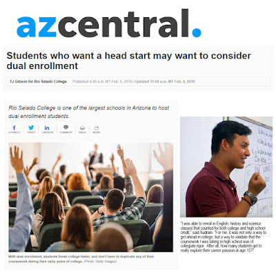 "snapshot of azcentral story feature.  Image of students in a classroom holding up their hands.  Caption: With dual enrollment, students finish college faster, and don't have to duplicate any of their coursework during their early years of college. (Photo11: Getty Images).  Text: Students who want a head start may want to consider dual enrollment. Rio Salado College is one of the largest schools in Arizona to host dual enrollment students. Photo of Rio Salado Grad Lennon Audrain in a classroom. quote: ""I was able to enroll in English, history and science classes that counted for both college and high school credit. For me, it was not only a way to get ahead in college, but a way to validate that the coursework I was taking in high school was of collegiate rigor,"" noted Audrain. After all, how many students get to really explore their career passion at age 15?"""