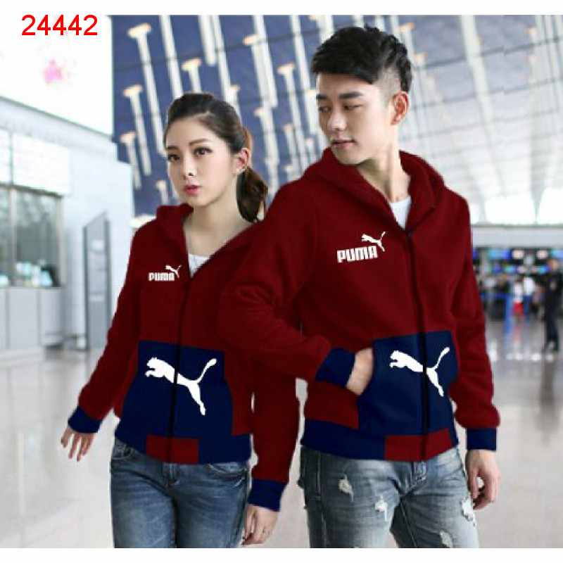 Jual Jacket Couple Jaket Puma Pocket Maroon Navy - 24442