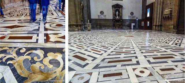 Trabalhos em mármore no piso da Catedral de Florença