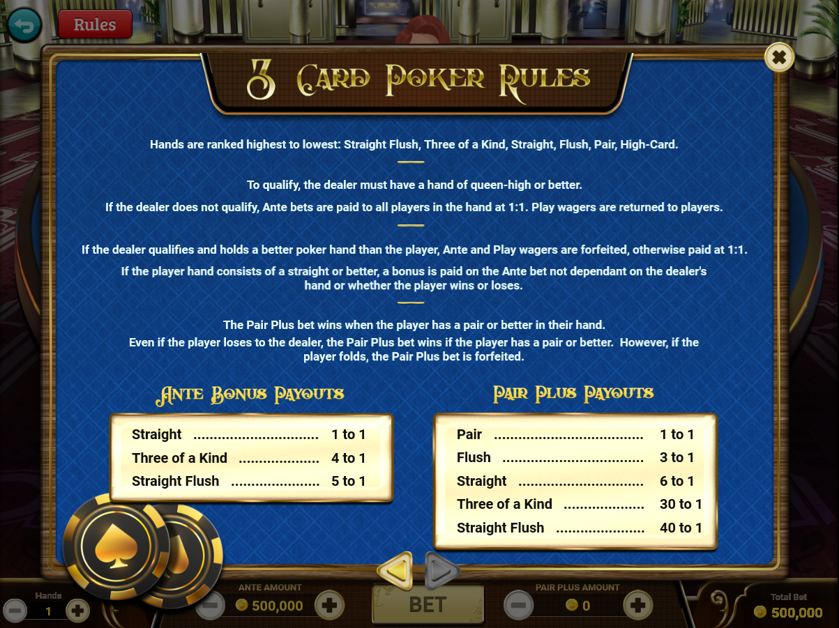 Rules of 3 Card Poker - Single Player / Page 2