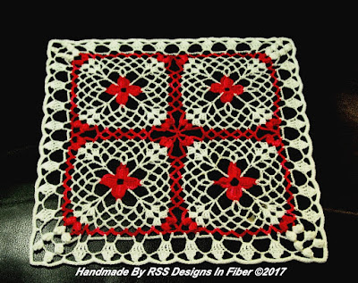 Red Flowers in White Lace Square Doily - By Ruth Sandra Sperling at RSS Designs In Fiber