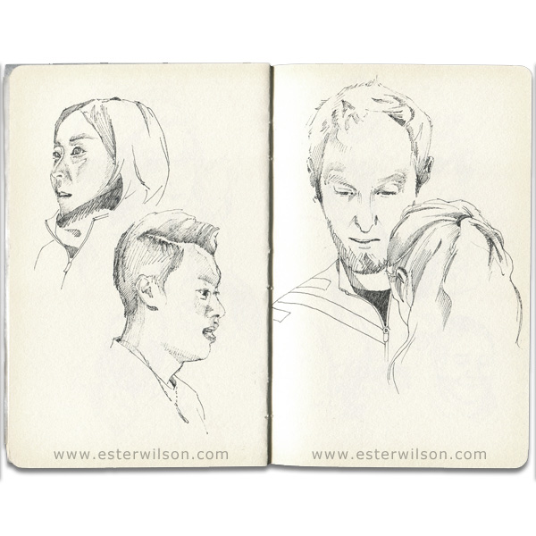 Drawing portraits from curling mixed doubles games Japan vs Denmark