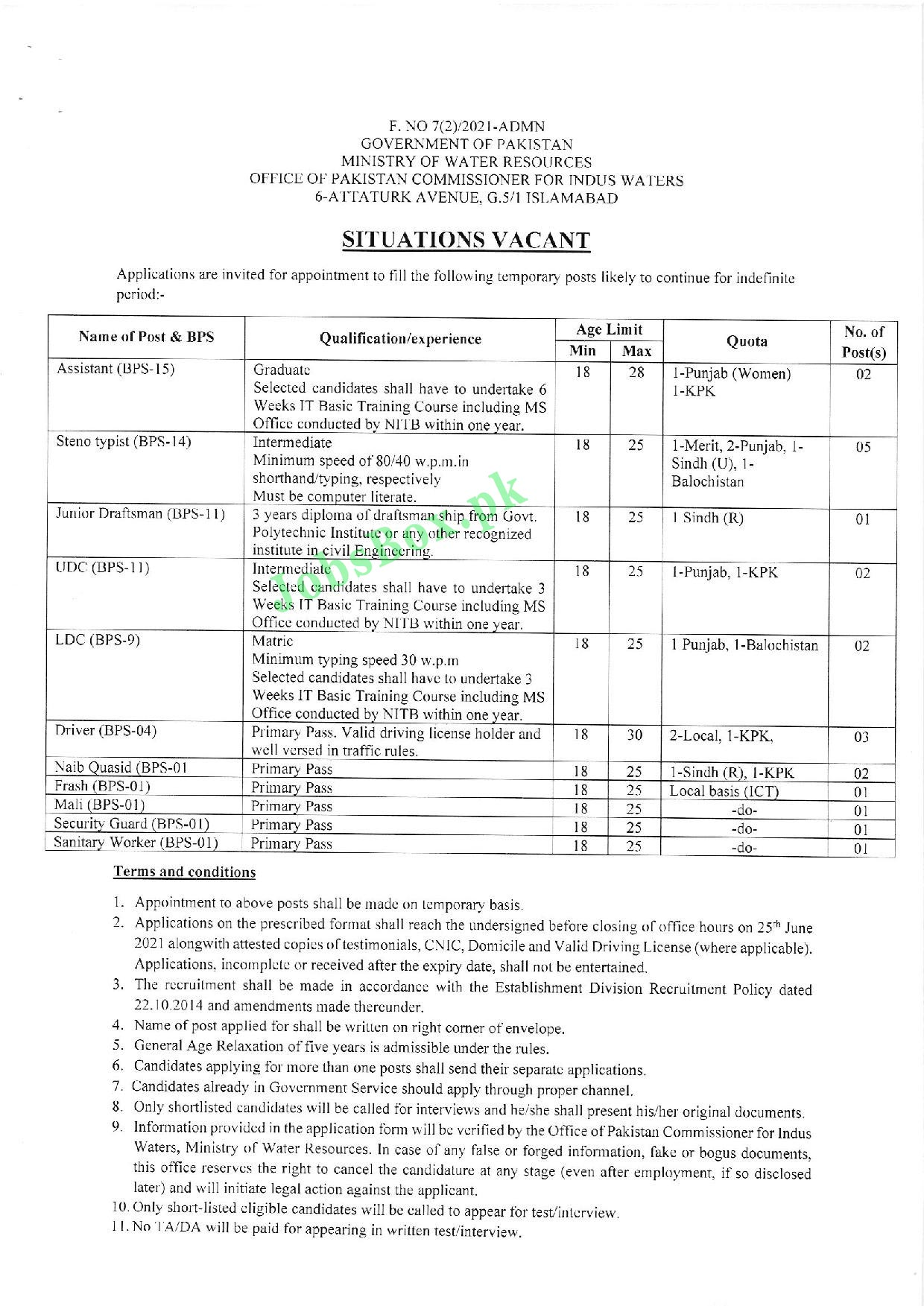 www.mowr.gov.pk Application Form 2021 - Ministry of Water Resources MOWR Jobs 2021 Latest Advertisement
