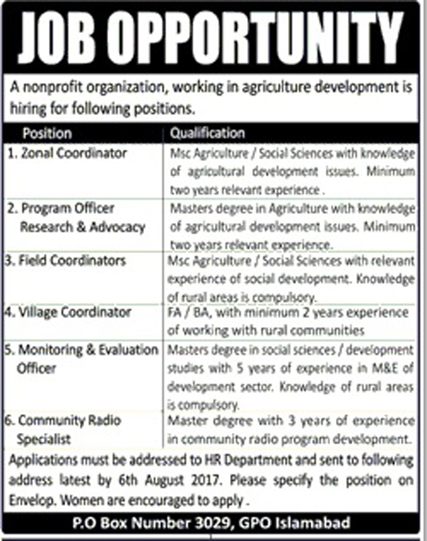 Jobs in Non Profit Organization Islamabad 26 July 2017.