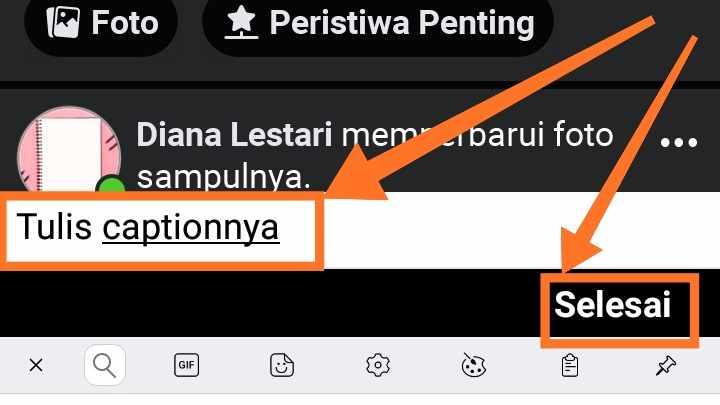 Cara membuat caption di foto profil fb