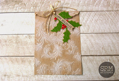 SRM Stickers Blog - Warm & Cozy Christmas Wrap by Lorena - #Christmas #Gift Bag #Gift Wrap #Embossed Kraft bags #Fancy Sentiments #Shimmer Twine,