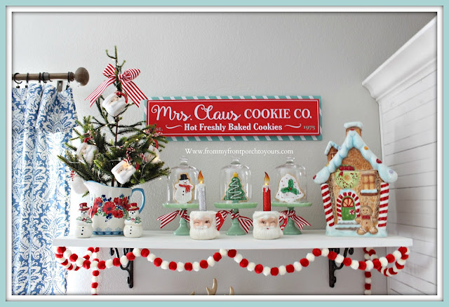 Breakfast -Nook -Christmas- Decor-Vintage-Santa-Mug-Tree-Gingerbread-Theme-From My Front Porch To Yours