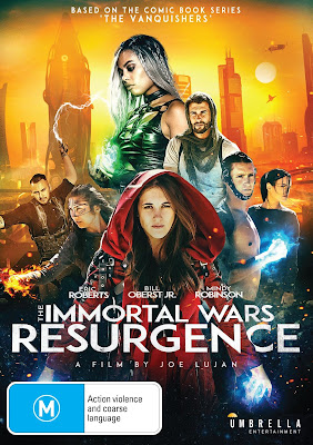 DVD cover for Umbrella Entertainment's THE IMMORTAL WARS: RESURGENCE.
