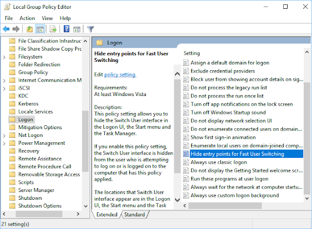 Fast User Switching - Windows 10 Switch User Disable
