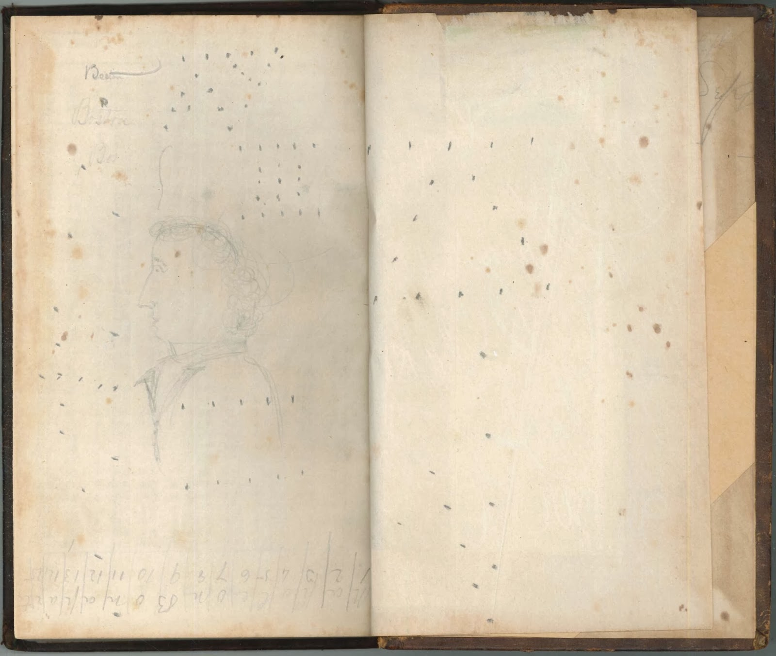 An open book. The visible pages are blank except for a series of dots.