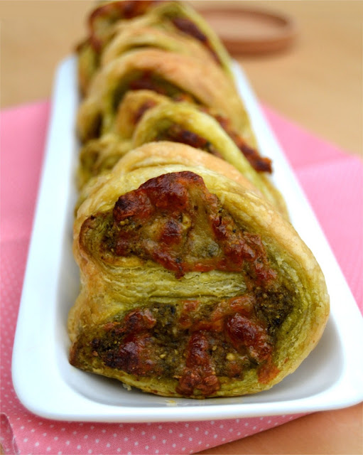 Pesto Sriracha and Mozzarella Palmiers