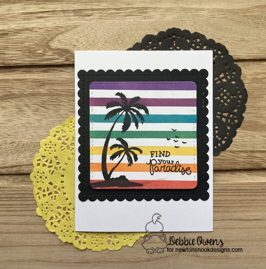Find you paradise by Debbie features Frames Squared and Paradise Palms by Newton's Nook Designs; #inkypaws, #newtonsnook, #cardmaking, #tropicalcards