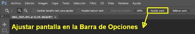 Ajustar pantalla en la Barra de Opciones de Photoshop